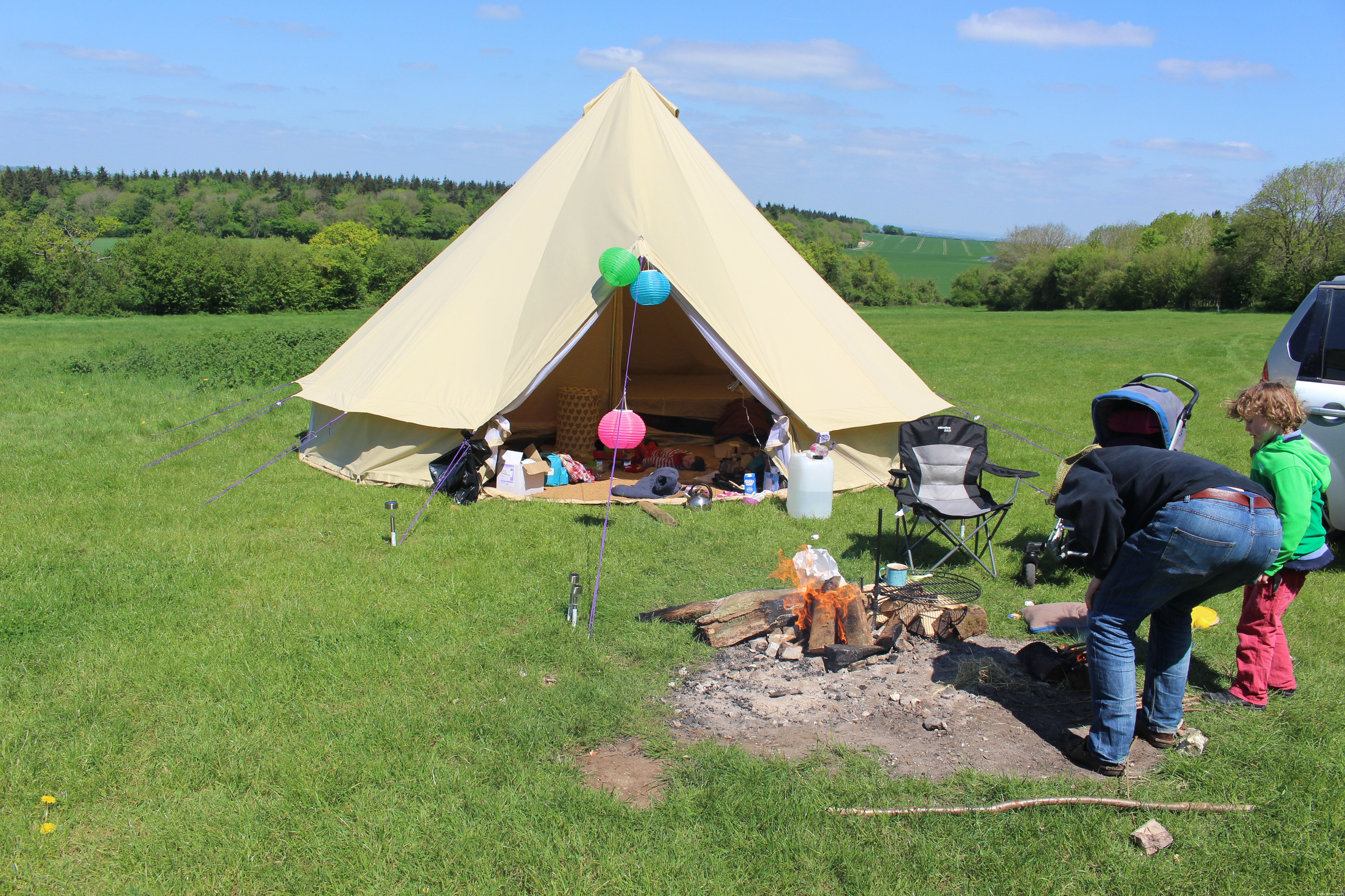 6m bell tent and firepit